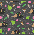 seamless pattern with forest plants mushrooms and vector image
