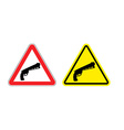 Warning sign of attention weapon Dangers yellow vector image