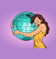 woman hugging the earth continent of africa and vector image