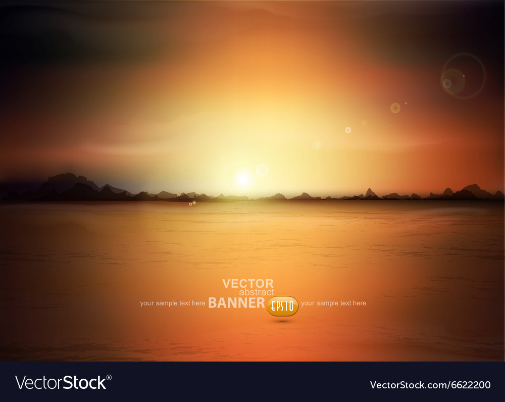 Landscape with a rising sun and mountains vector