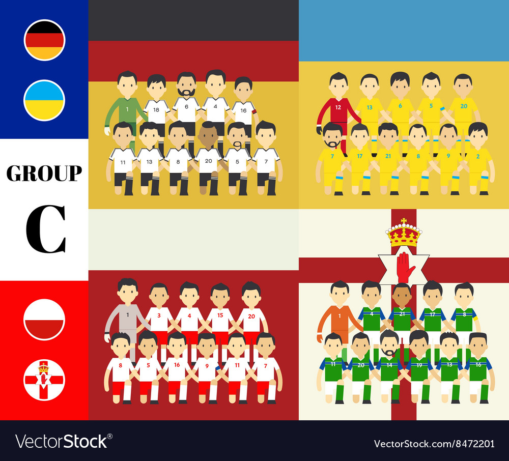 Players with flags euro 2016 set vector