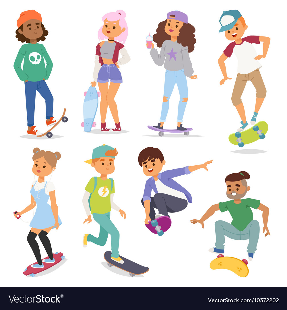 Skateboard characters vector
