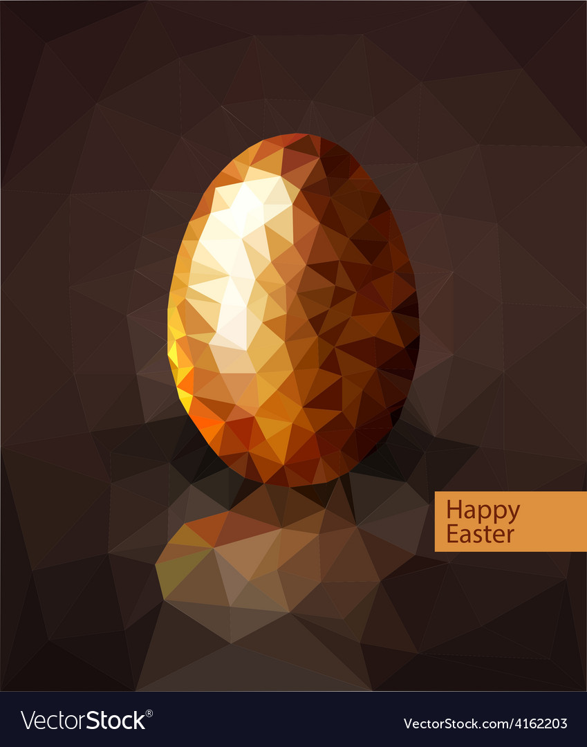 Golden egg from the mosaics triangles for easter vector