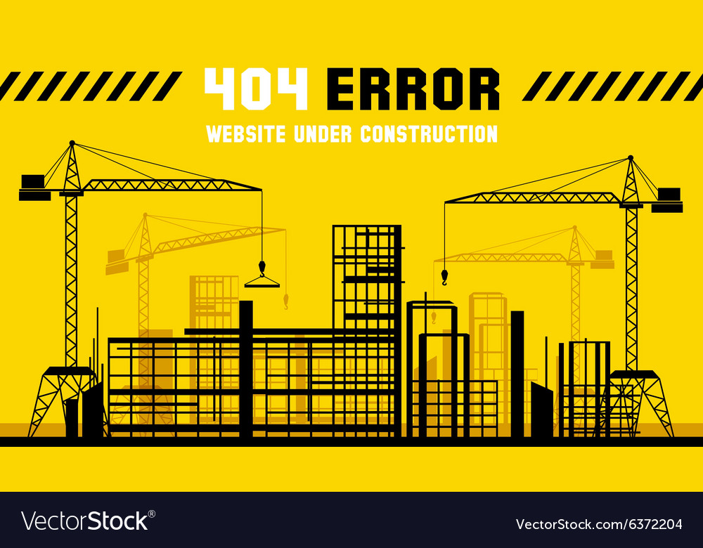 Under construction site 404 page template vector