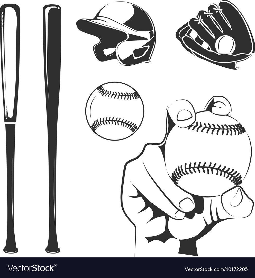 Elements for baseball club labels vector