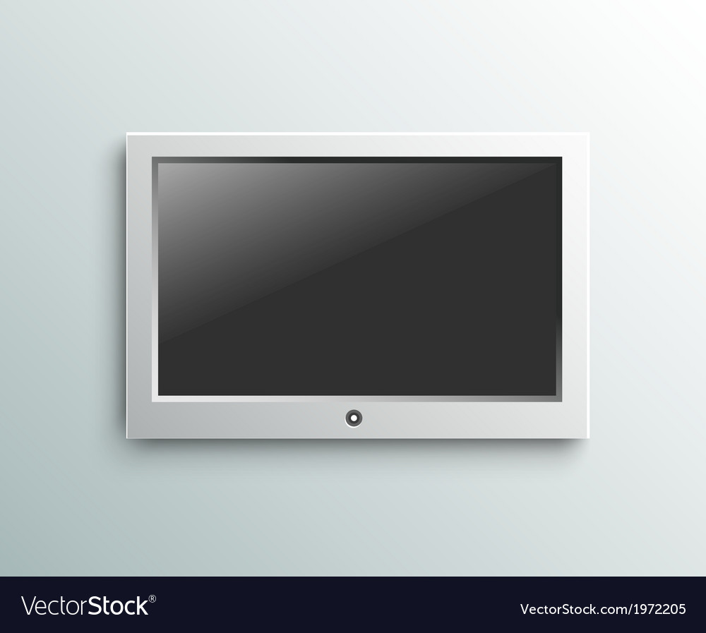 Led tv hanging monitor on the wall background vector