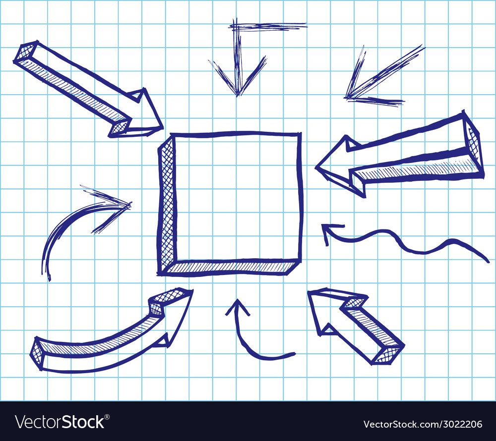 Arrows and frames sketchy elements vector