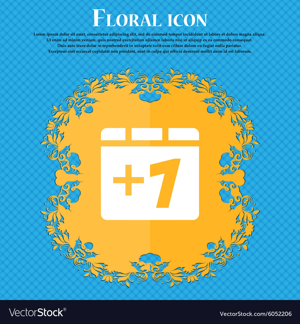 Plus one add one floral flat design on a blue vector