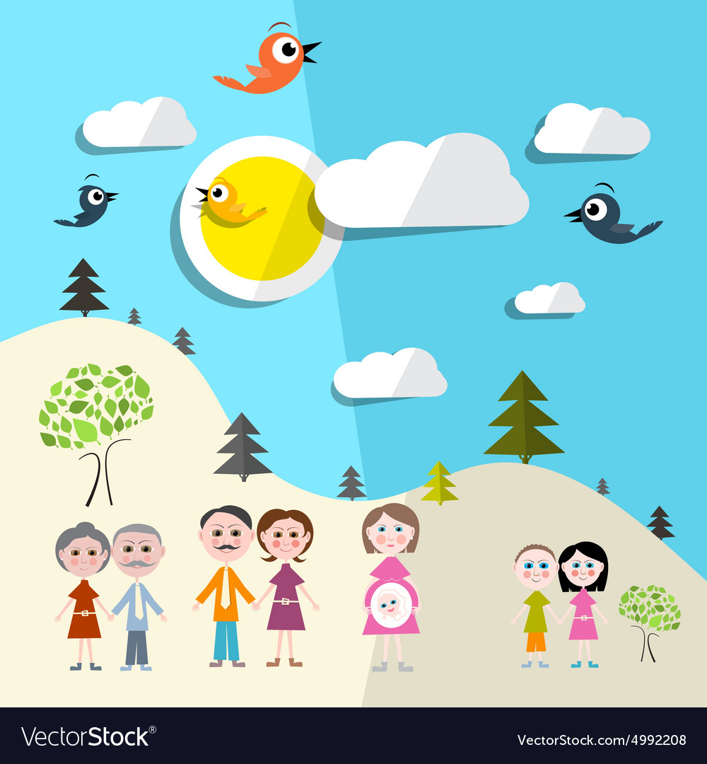 Family in nature  landscape vector