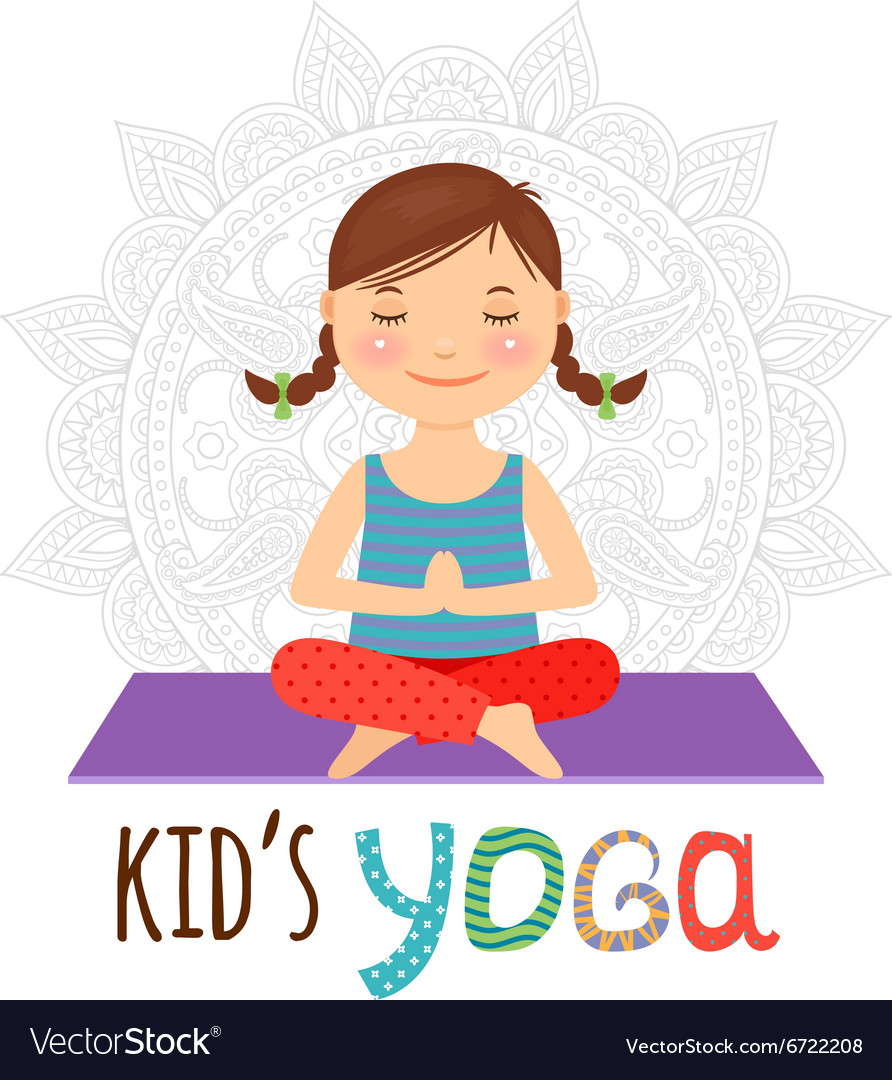 Kid yoga logo vector