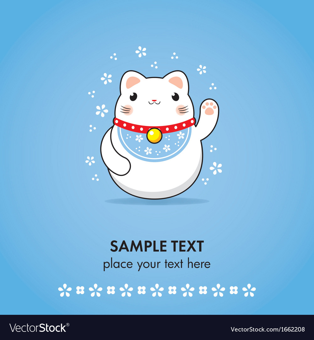 Maneki neko greeting card vector