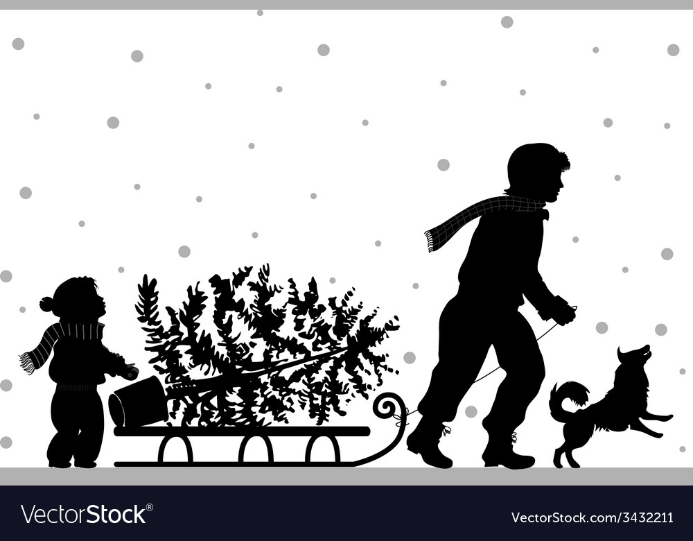 Dad and daughter carry christmass tree vector