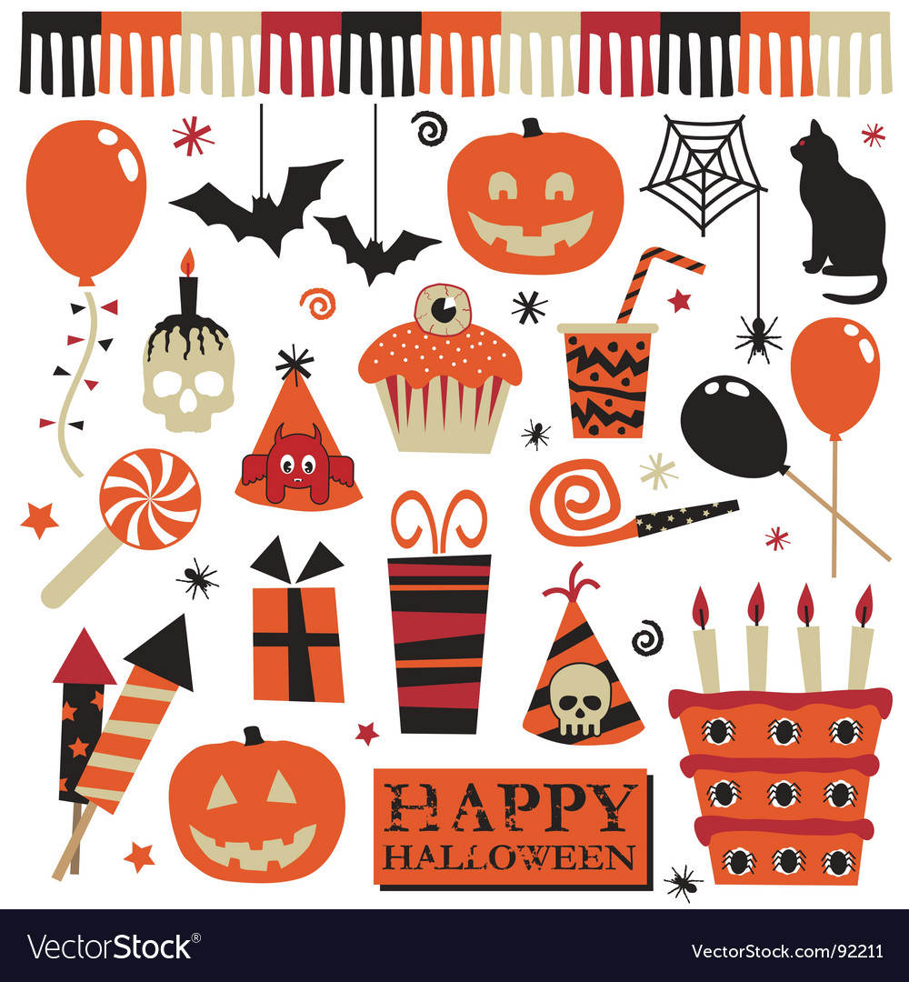 Halloween party elements vector