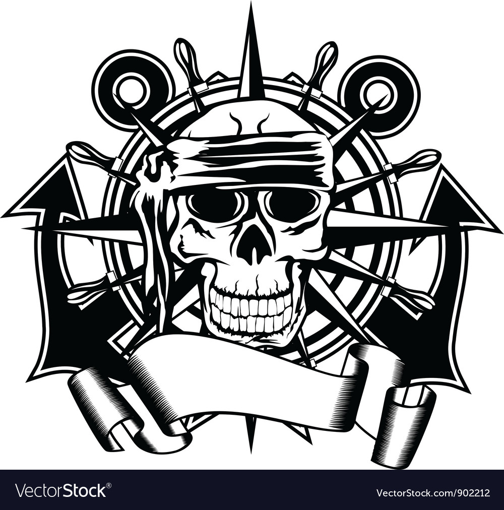 Anchor steering whell and skull vector
