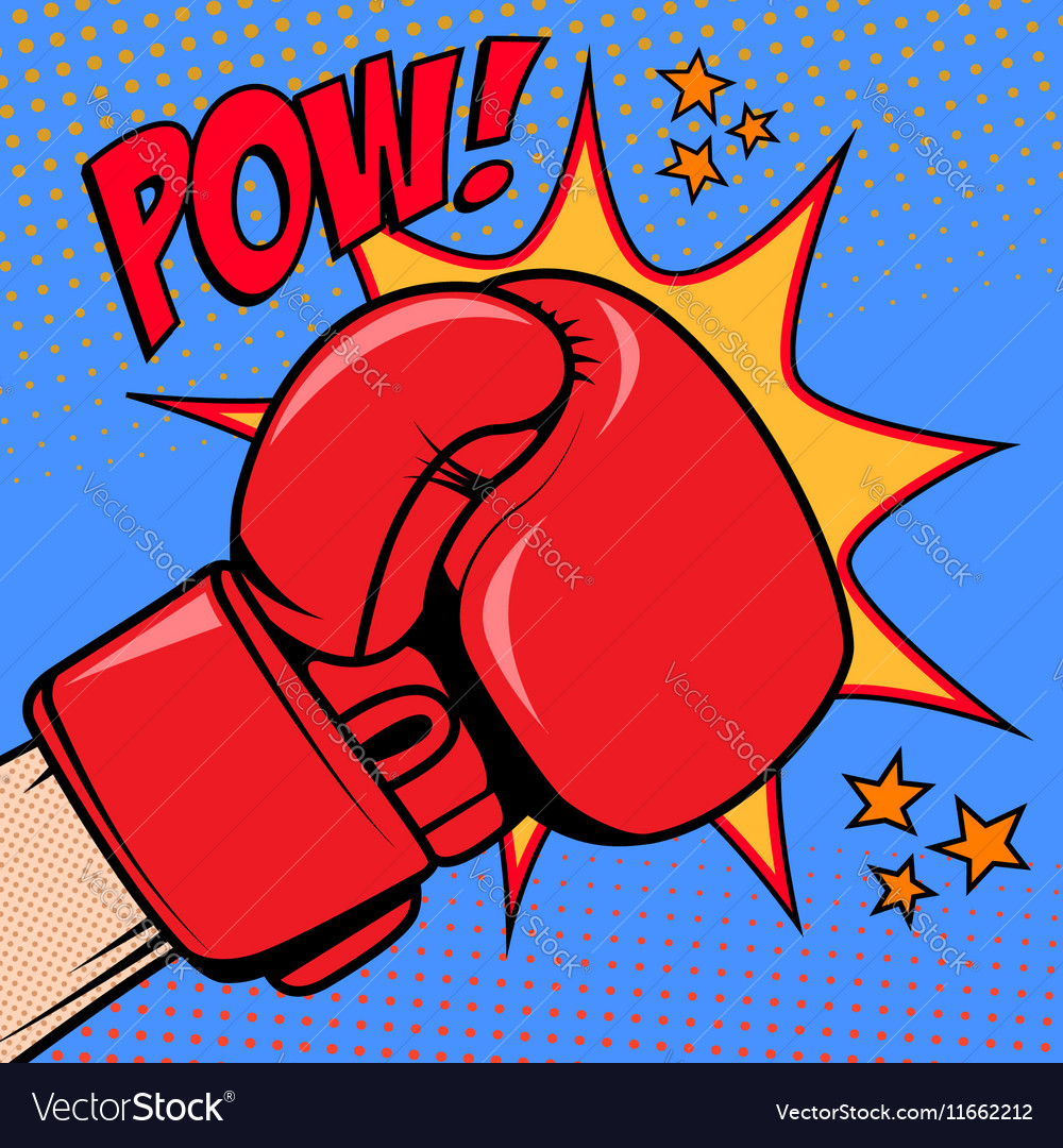 Human hand in pop art style with boxing glove pow vector