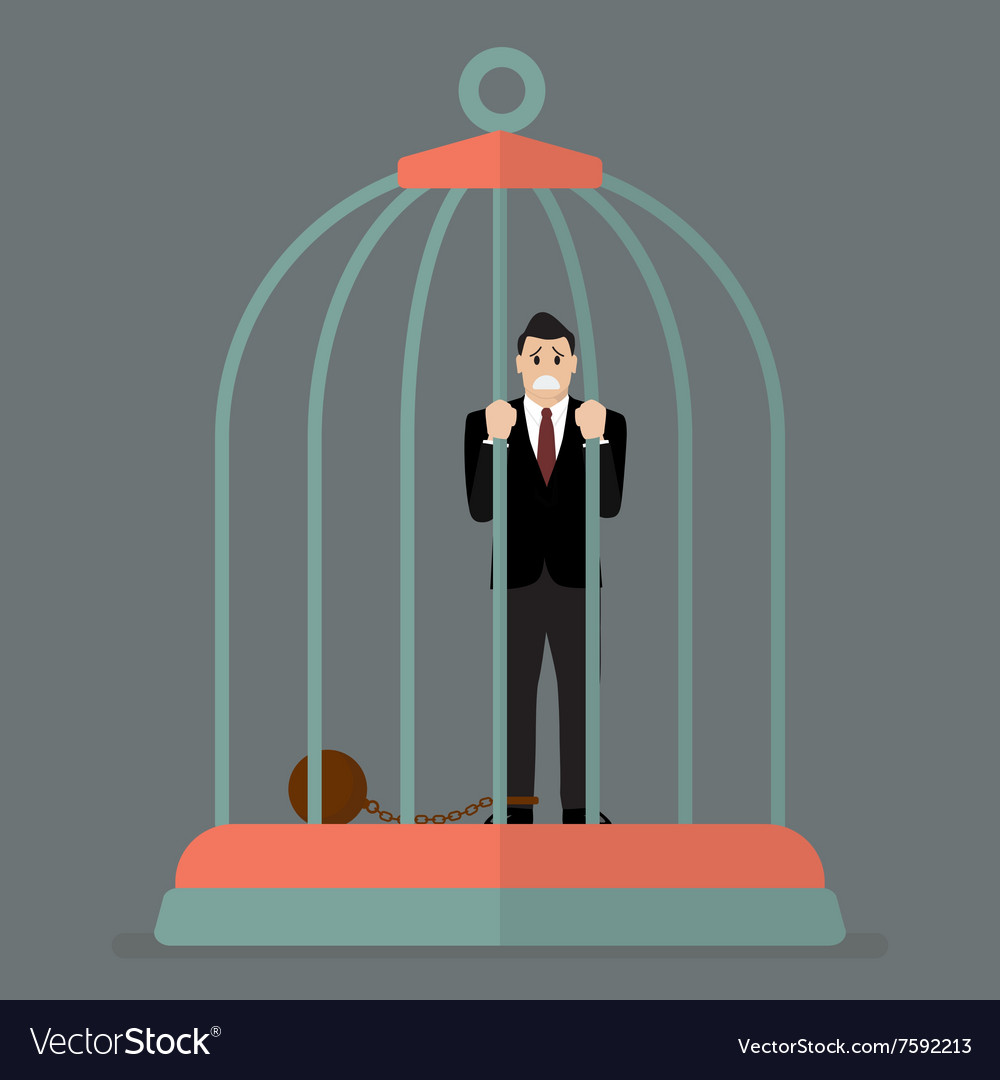 Businessman with weight in bird cage vector