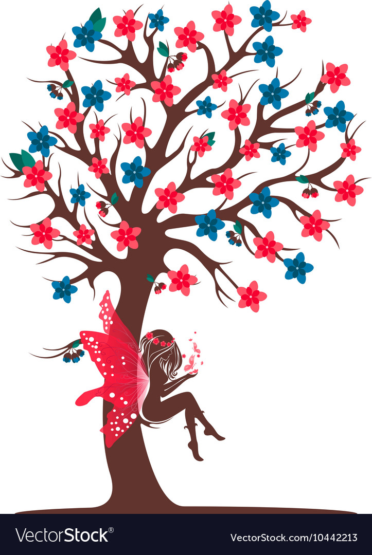 Decorative tree silhouette with fairy vector