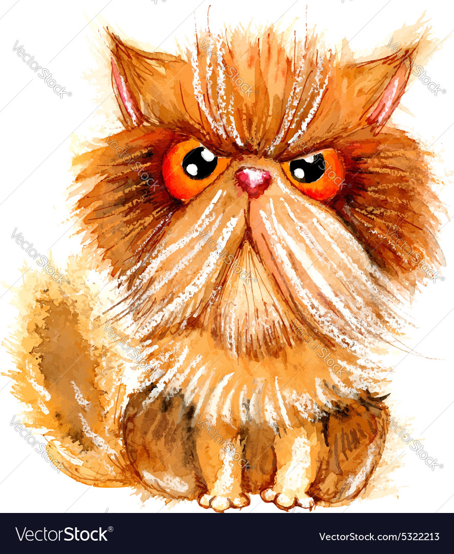 Hand drawn watercolor grumpy persian cat vector