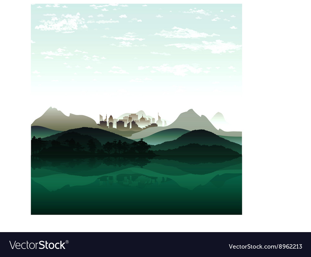 Nature lake on background of city and the mountain vector