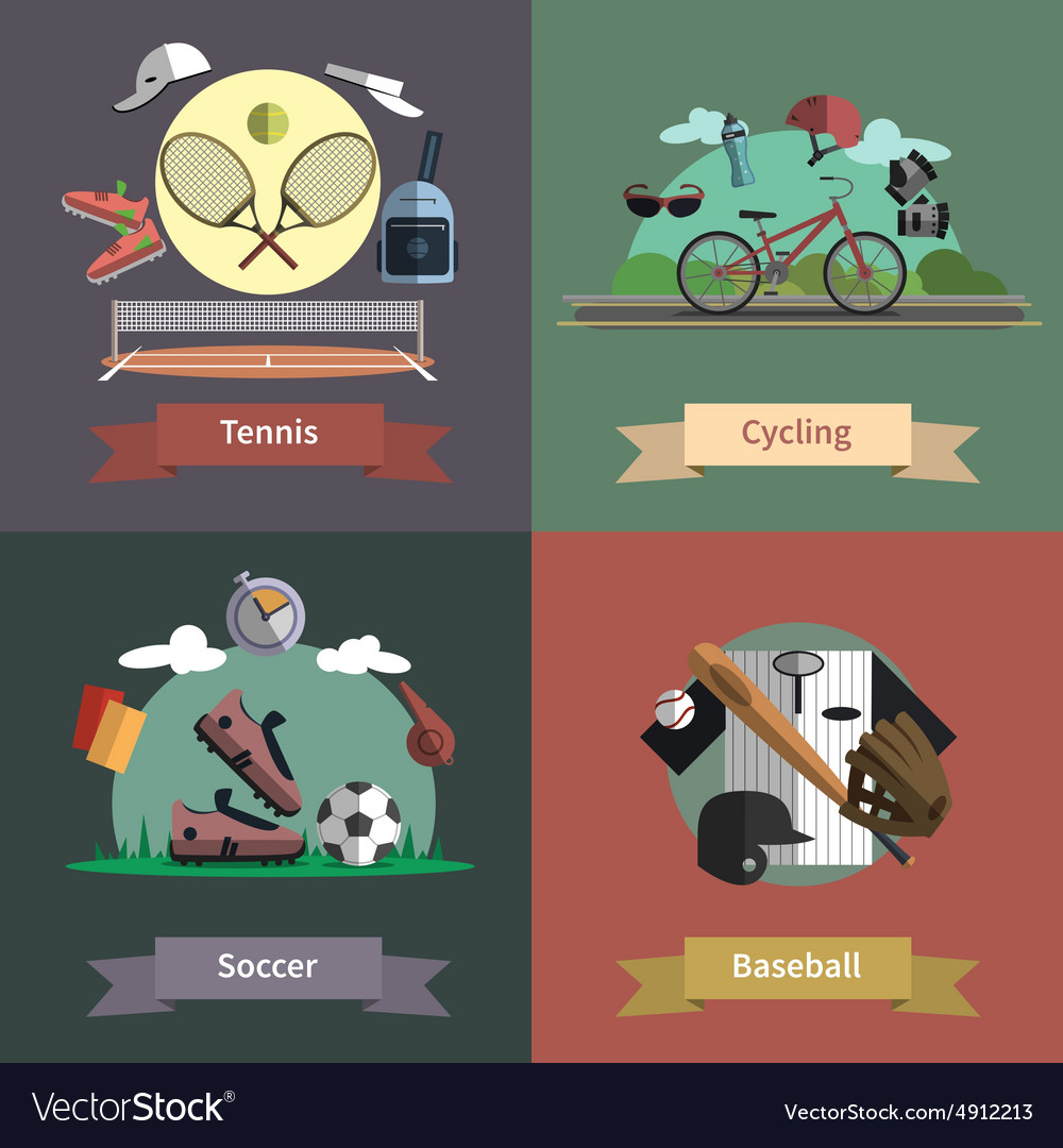 Sport 4 flat icons composition banner vector