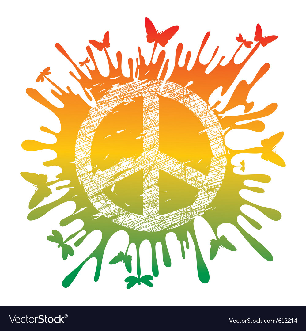 Artistic hippie peace vector