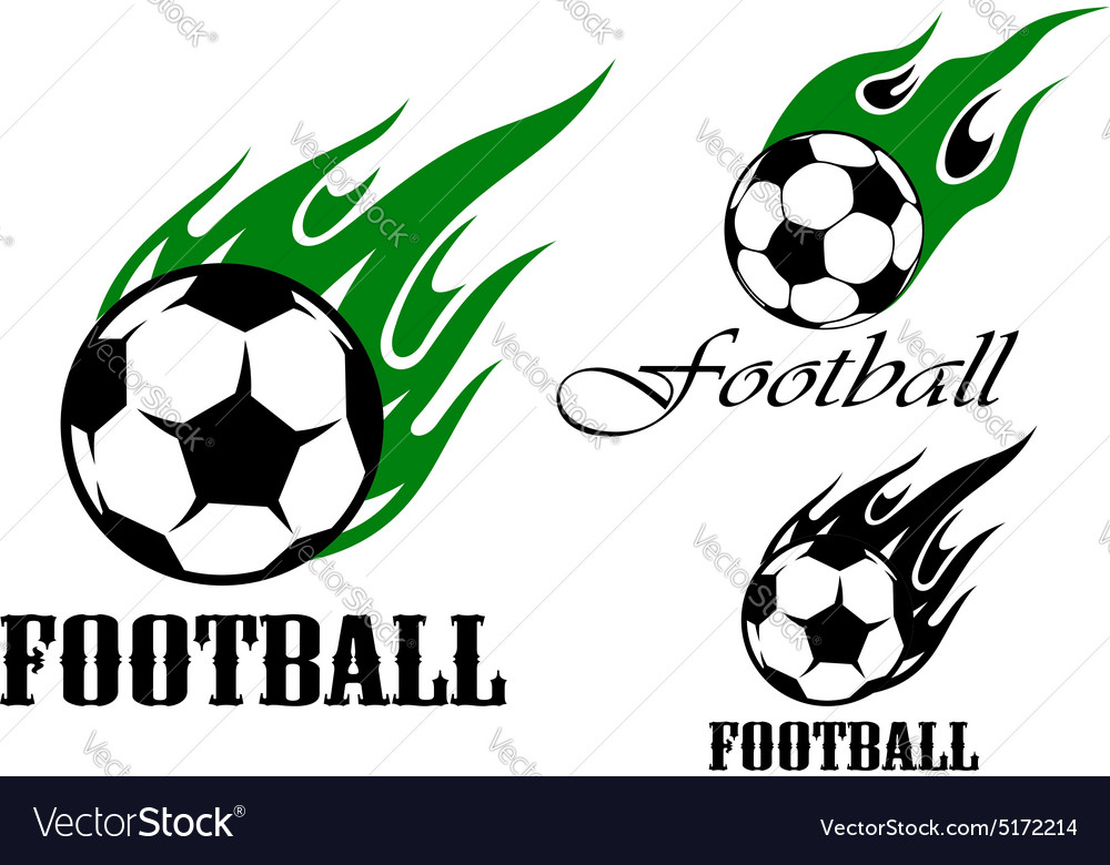 Football sports emblems with flaming ball vector