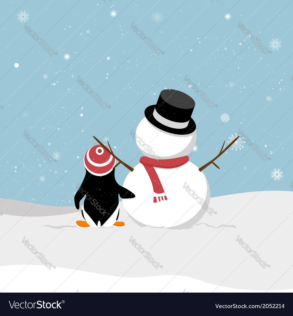 Snowman with penguin vector