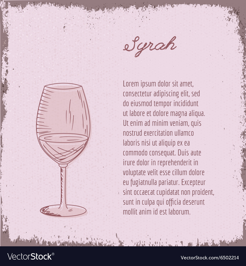 Template with hand drawn wine glass vector