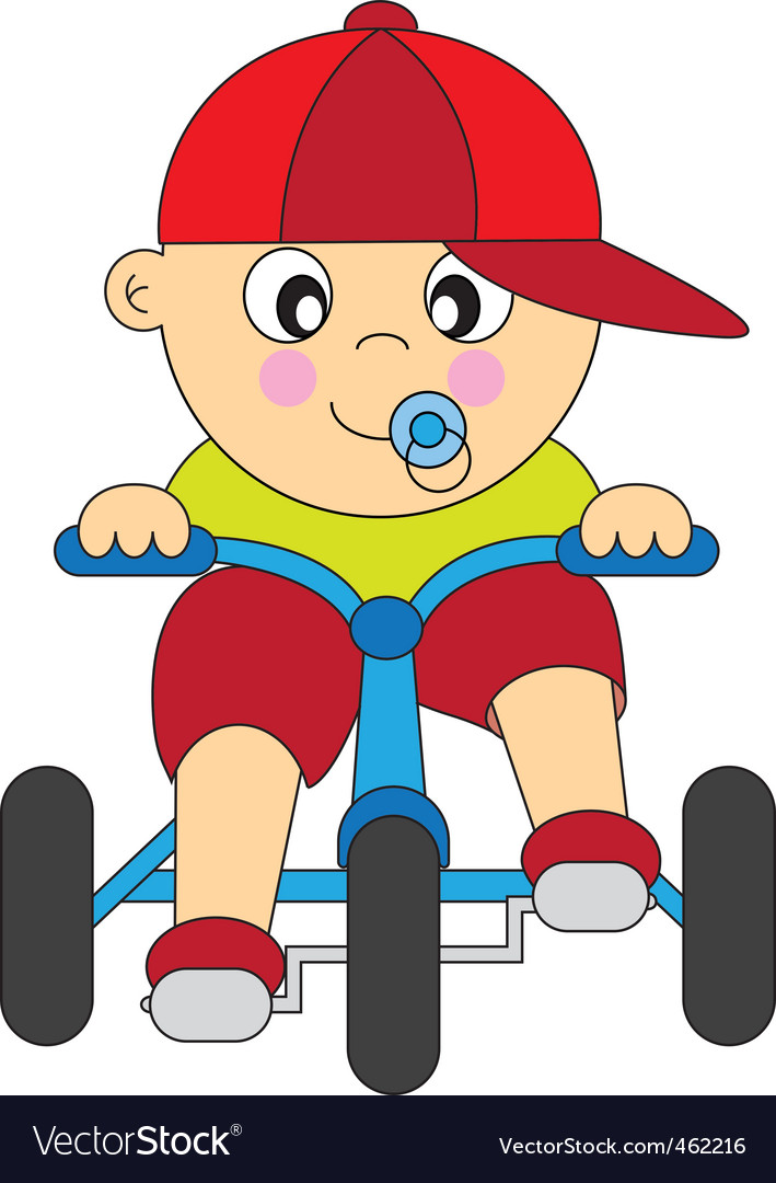 Boy bike vector