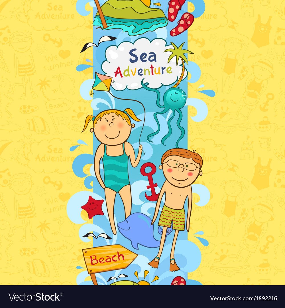 Cute seamless border with beach elements vector