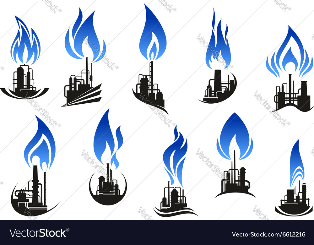 Industrial chemical plants with blue flames vector