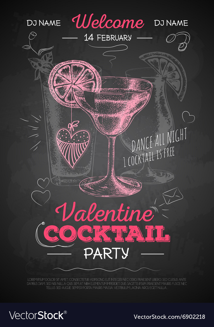 Chalk drawing cocktail valentine party poster vector