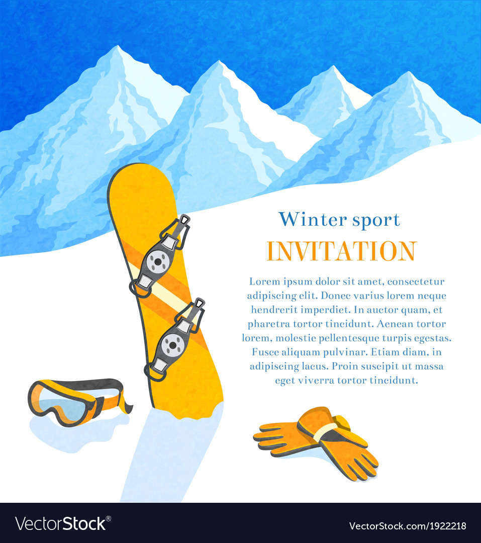 Snowboard winter invitation vector