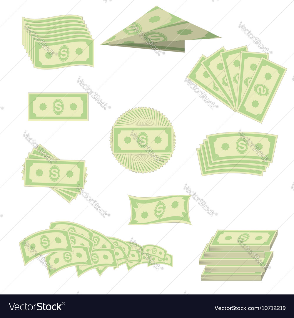 American banknotes cash money us currency vector