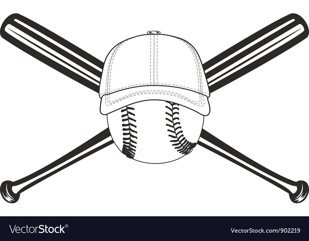 Ball and crossed bat vector
