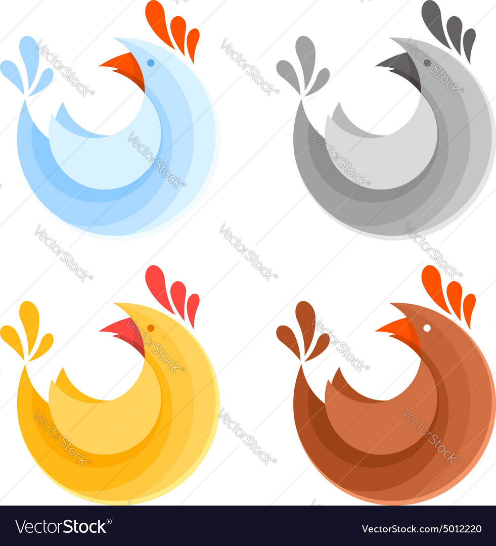 A collection of farm chicken icons vector