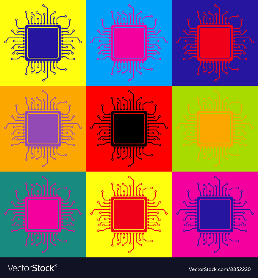 Cpu microprocessor popart style icons set vector