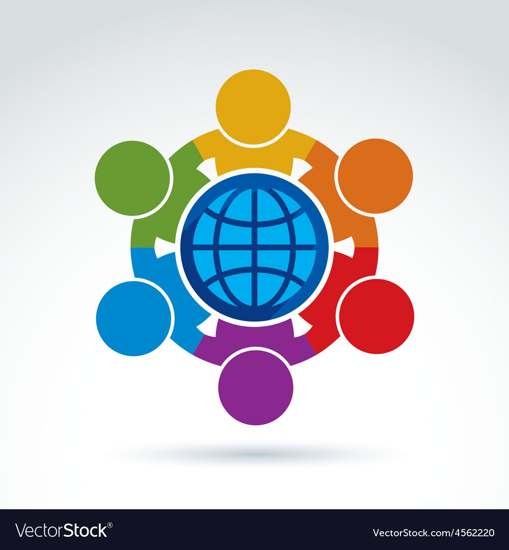 People standing around a globe sign mana vector