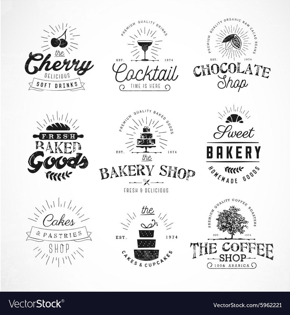Typographical bakery coffee and drinks badges vector