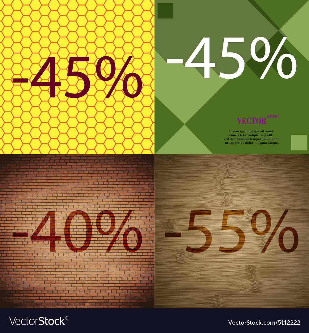 45 40 55 icon set of percent discount on abstract vector