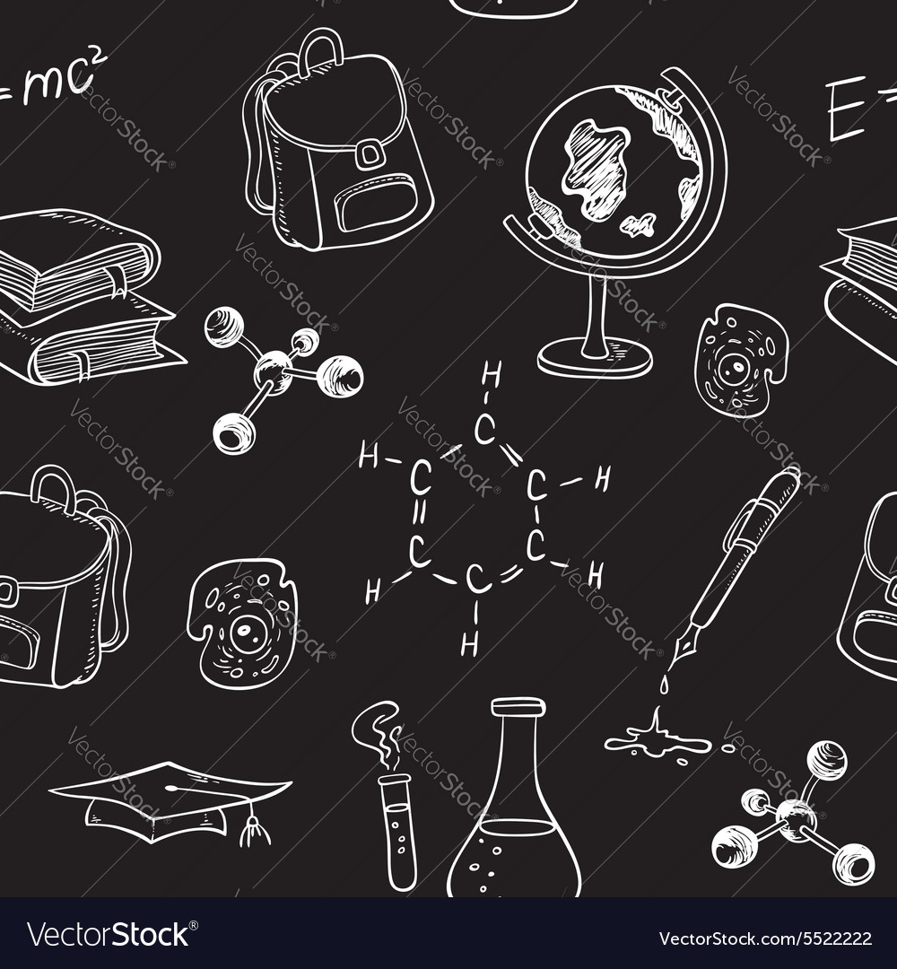 School seamless pattern with various items vector
