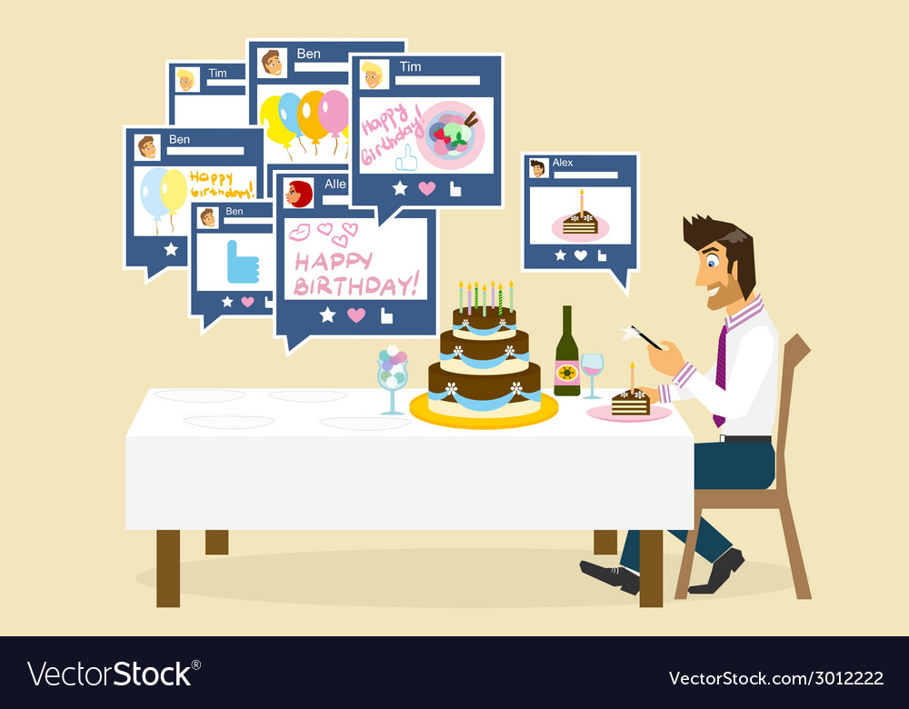 Social networking and birthday vector