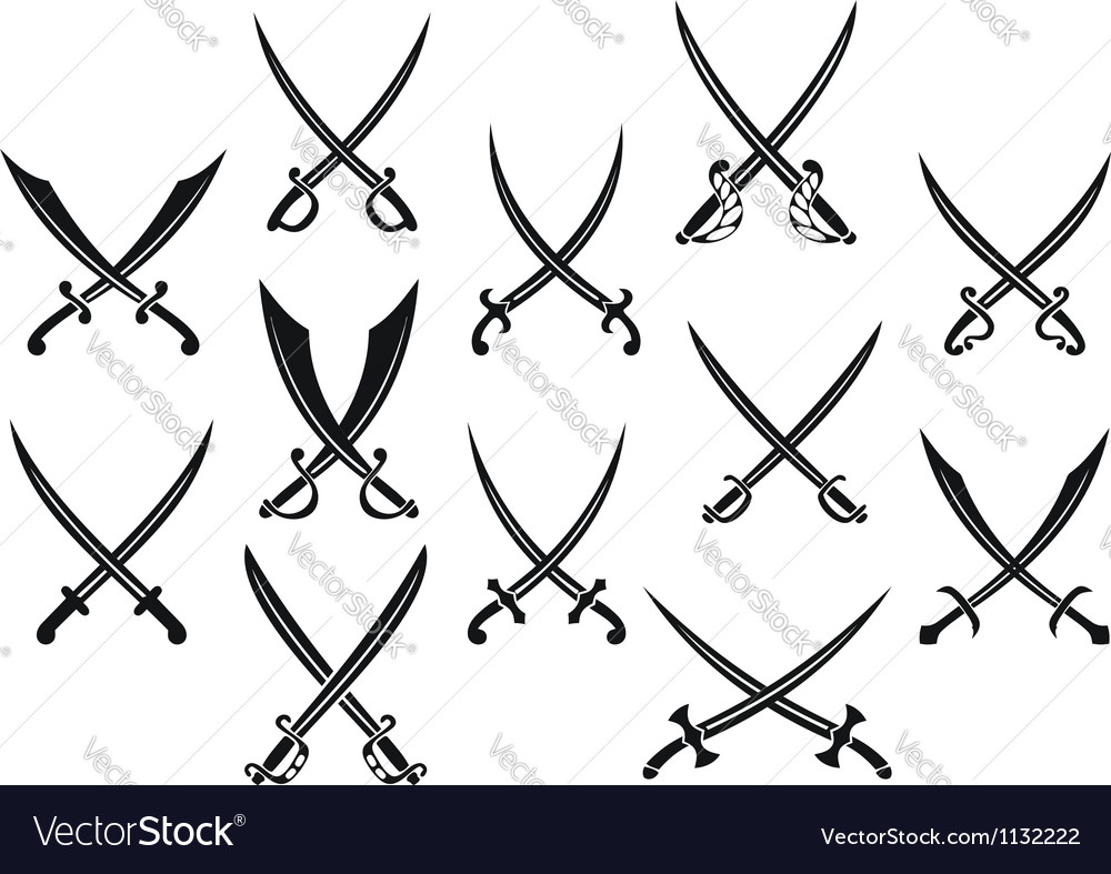 Swords and sabres for heraldry vector