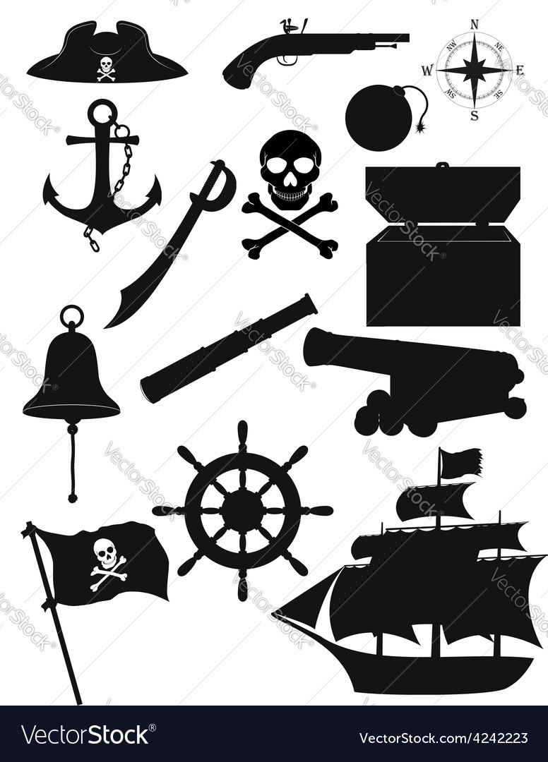 Set of pirate icons 02 vector
