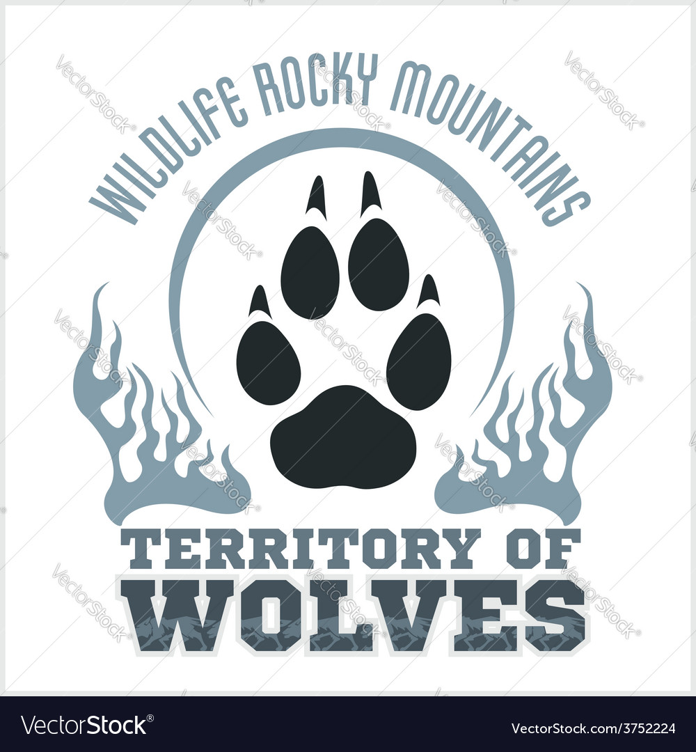 Footprint wolves emblem  dangerous territory vector
