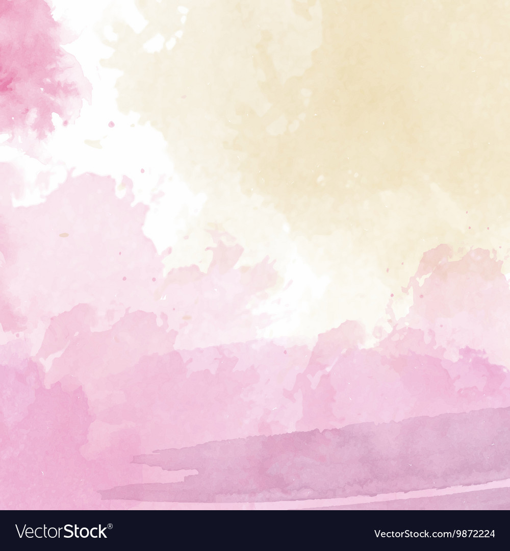 Pink and yellow watercolor background vector