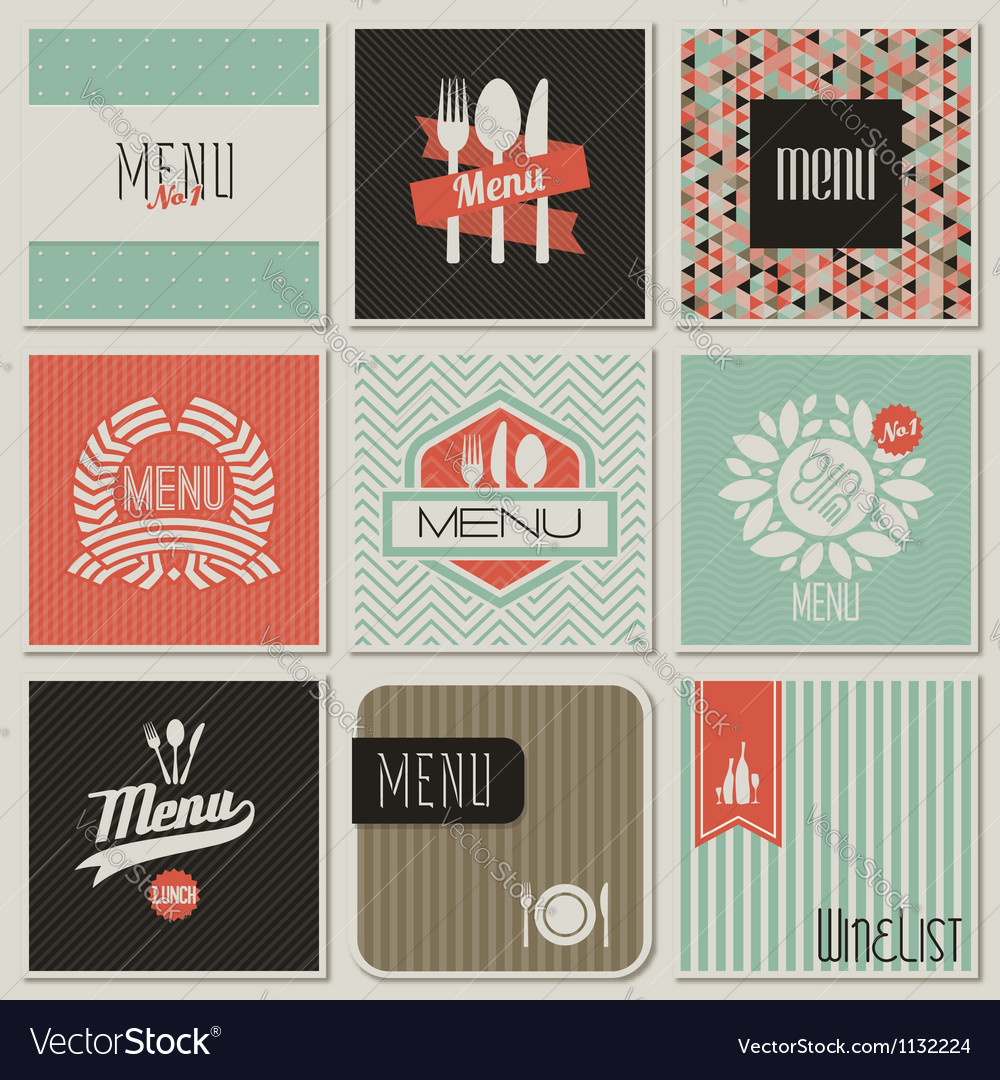 Retrostyled restaurant menu designs vector