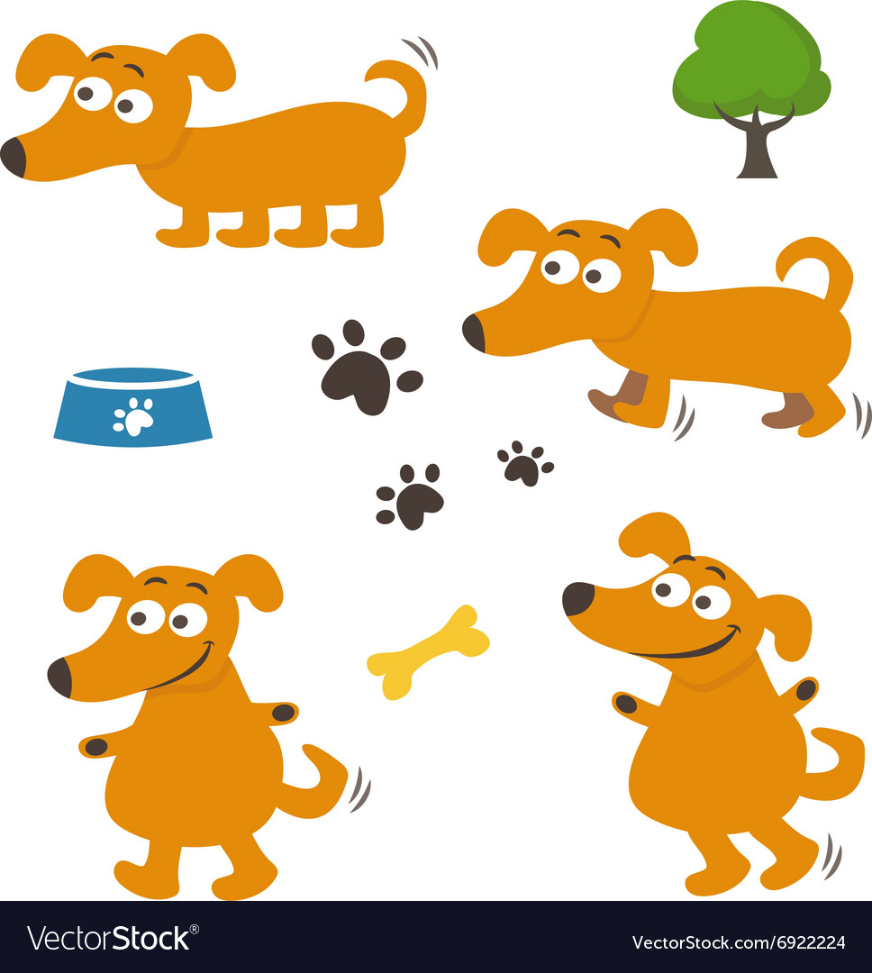 Set of happy cartoon dogs vector