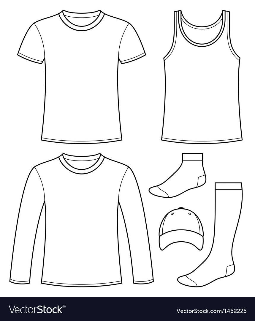 Singlet tshirt longsleeved tshirt cap and socks vector