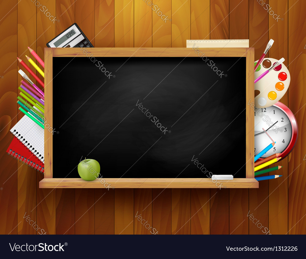 Blackboard with school supplies on wooden vector